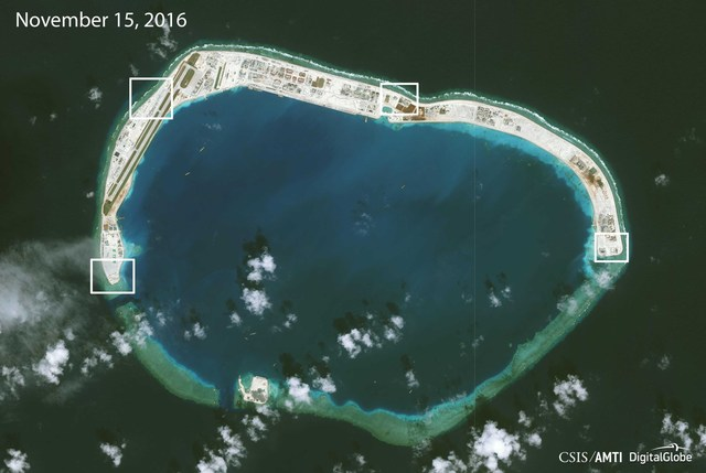 2016 PHOTO. Structures seen on a satellite image of Mischief Reef on November 15, 2016, released December 13, 2016. Image courtesy of CSIS Asia Maritime Transparency Initiative/DigitalGlobe