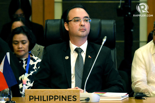 HAGUE RULING.  Following the lead of Philippine President Rodrigo Duterte, Philippine Foreign Secretary Alan Peter Cayetano downplays the Hague ruling won by the Philippines to boost economic ties with the Chinese. Photo by Angie de Silva/Rappler