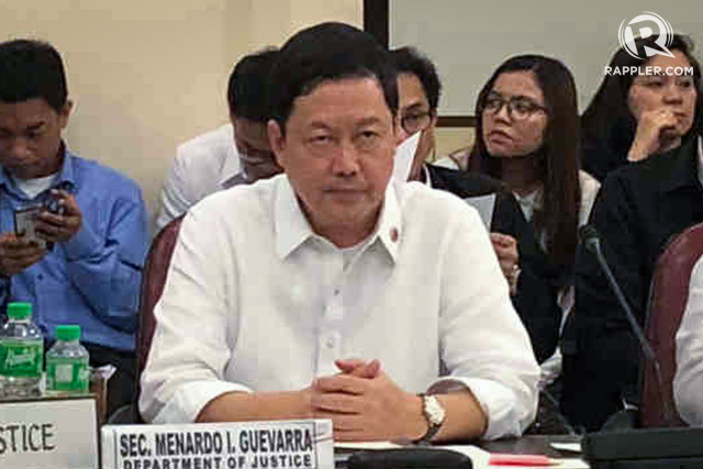 JUSTICE SECRETARY. The DOJ didn'€™t verify names before seeking terrorist tag for 649 people, says DOJ Secretary Menardo Guevarra. Photo by Mara Cepeda/Rappler