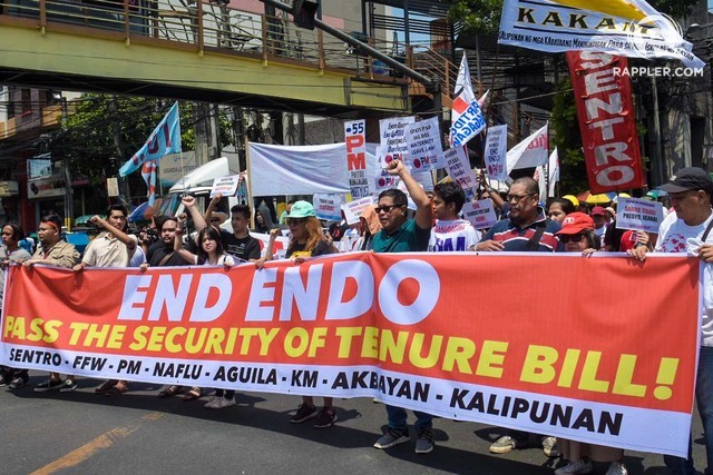 LABOR PROTEST. Trade union workers belonging to the Nagkaisa Coalition hold a protest in Mendiola, Manila on Labor Day, May 1, 2019, calling for an end to contractualization. Photo by Angie de Silva/Rappler