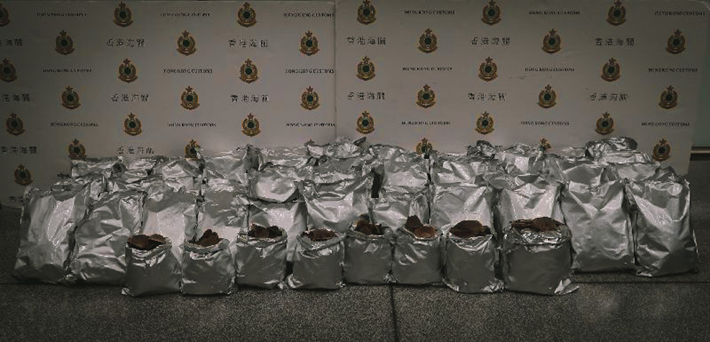 SCALES. These are the 110 kilograms of pangolin scales wrapped in tin foil that the women tried to smuggle through Hong Kong to Macau. © Hong Kong Customs and Excise Department