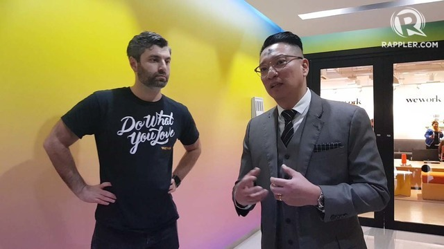 OPPORTUNITIES. Megaworld senior vice president Jericho Go tells reporters how WeWork partnering with them will bring more foreign companies to the Philippines. Photo by Anna Mogato/Rappler