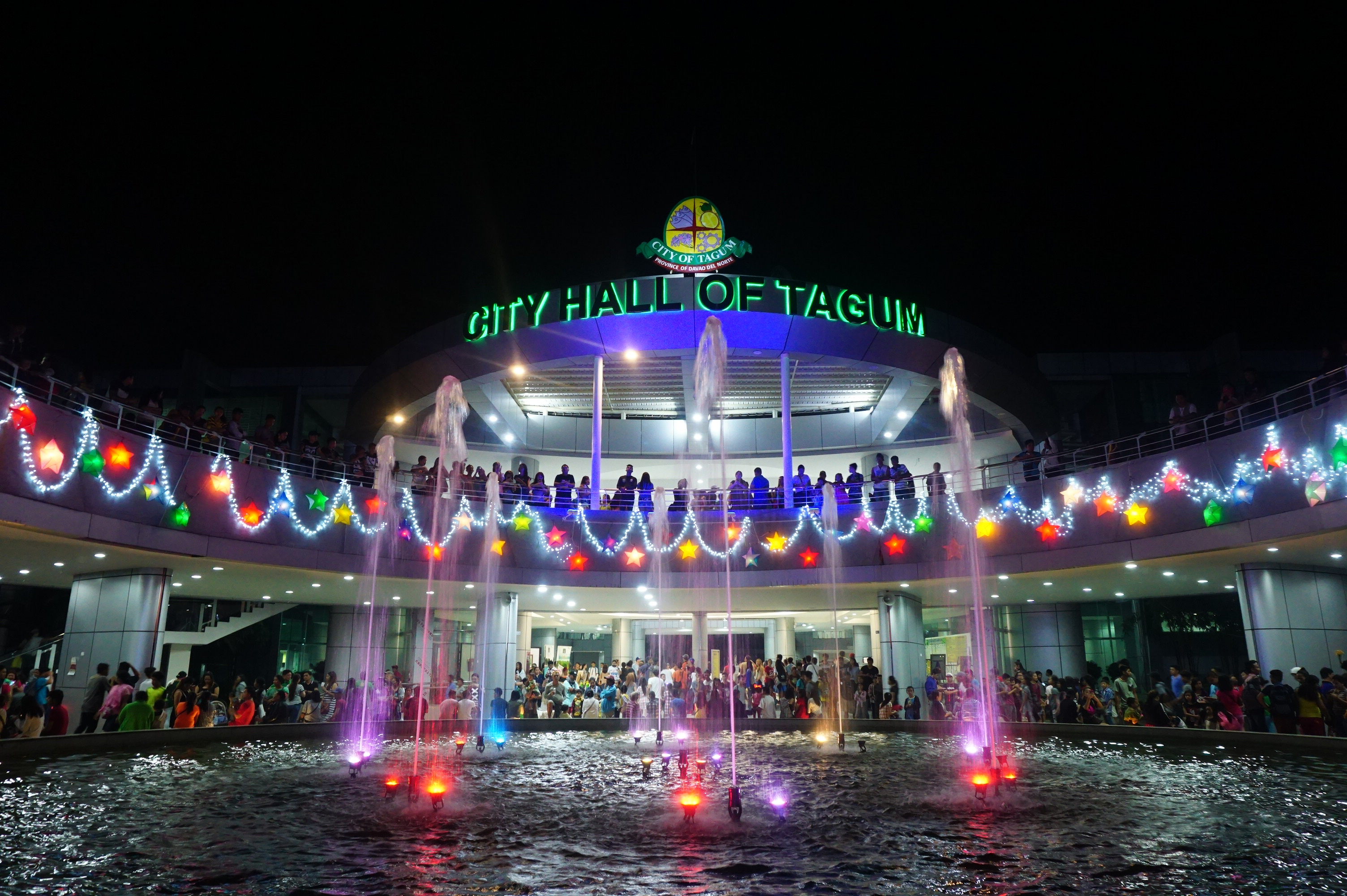 a gigantic christmas tree lights up beautiful tagum city