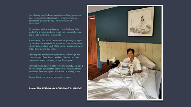 Feeling 'unwell,' Bongbong Marcos waits for coronavirus test results