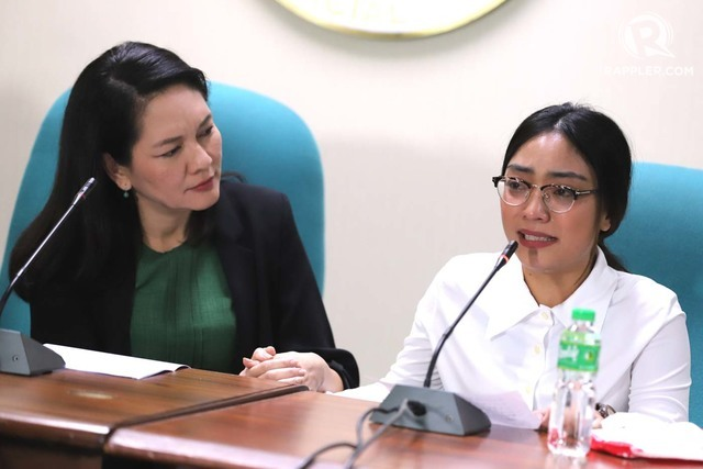 HUMAN TRAFFICKING. Senator Risa Hontiveros presents to the media a 23-year-old Taiwanese woman, Lai Yu Cian, who claims she was recruited by a Chinese man to be an advertising employee but instead worked in a POGO. Photo by Angie de Silva/Rappler