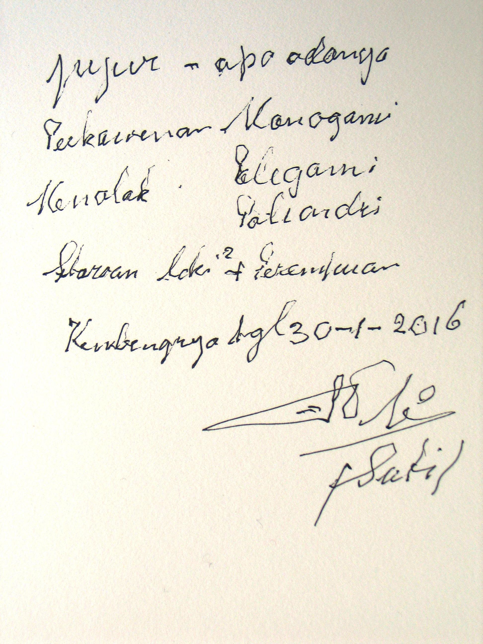 Tulisan tangan Suti tentang prinsip dasar Gerwis yang masih melekat kuat diingatannya Ari Susanto