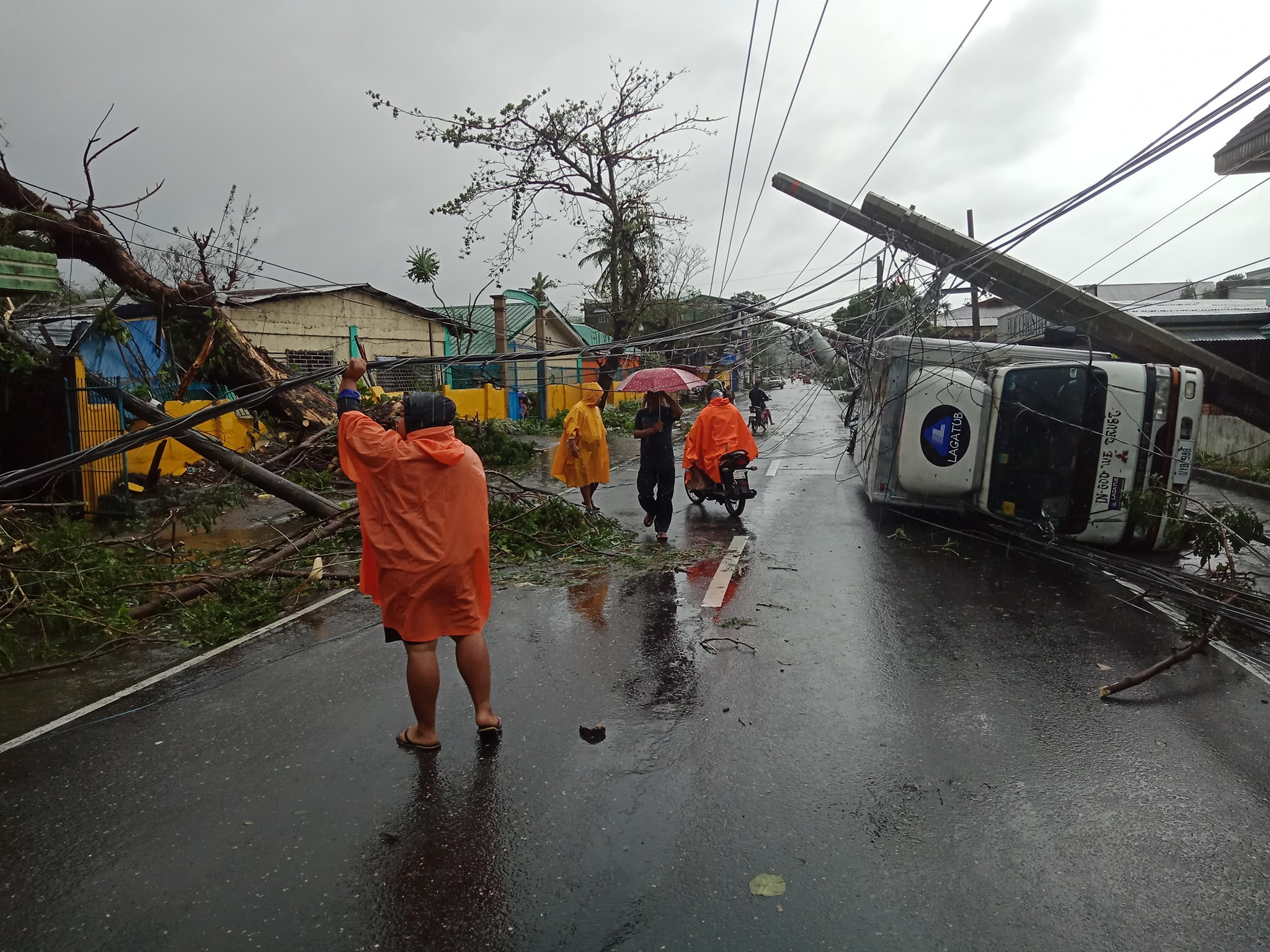 TISOY'S WRATH. Toppled electric posts and a toppled truck in Guinobatan, Albay, on December 3, 2019. Photo by Guinobatan Mayor Ann Gemma Ongjoco