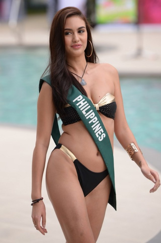 PHILIPPINES REP. Celeste Cortesi of the Philippines, poses for photos during a press presentation for Miss Earth. in Manila on October 11, 2018. Photo by Ted Aljibe/ AFP