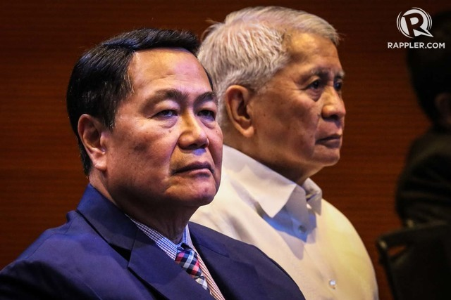 DEFENDERS. Supreme Court Senior Associate Justice Antonio Carpio and Ambassador Albert del Rosario attend the Stratbase Albert del Rosario Institute's forum on the third anniversary of the Hague ruling on the South China Sea on July 12, 2019. Photo by Jire Carreon/Rappler