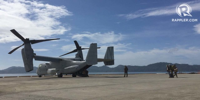 US ASSETS. An Osprey helicopter with US medical personnel onboard lands on a Casiguran port. Photo by Bea Cupin/Rappler