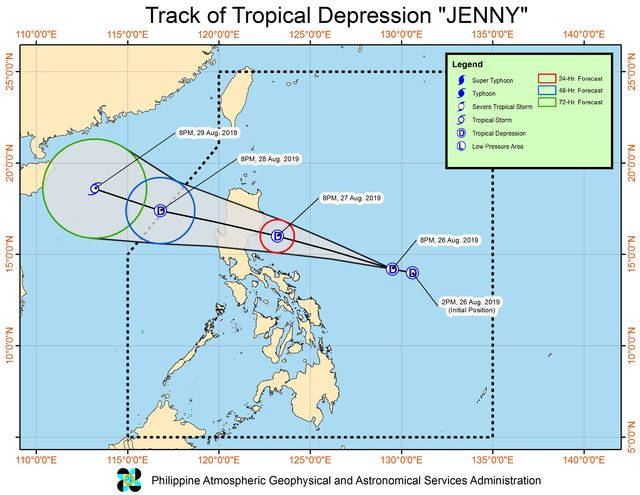 Forecast track of Tropical Depression Jenny as of August 26, 2019, 11 pm. Image from PAGASA