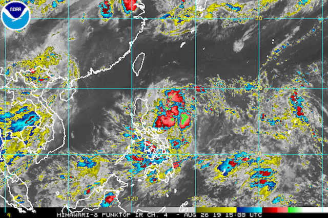 Satellite image of Tropical Depression Jenny as of August 26, 2019, 11 pm. Image from NOAA