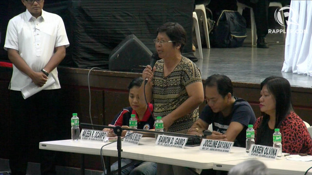 APPEAL FOR HELP. Edwina Bilog, an evacuee from San Nicolas, Batangas, shares to lawmakers on January 22, 2020, how difficult life has been for her in the past days since Taal Volcano erupted. Photo by Rappler