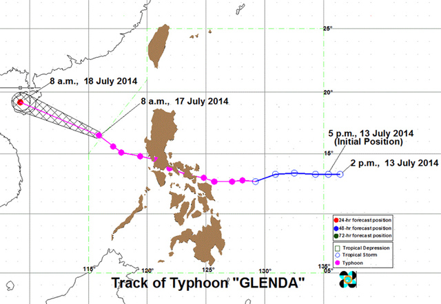 Forecast track of Typhoon Glenda (Rammasun) in 2014. Image from PAGASA