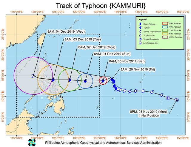 Forecast track of Typhoon Kammuri as of November 29, 2019, 11 am. Image from PAGASA
