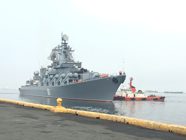 PORT CALL. Russian guided missile cruiser Varyag makes a port call in Manila on April 20, 2017. Photo by Carmela Fonbuena/Rappler