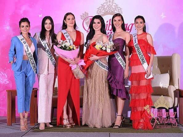SUPPORT. Karen Gallman, Ahtisa Manalo, Catriona Gray, and Jehza Huelar show their support for Michele and Eva.