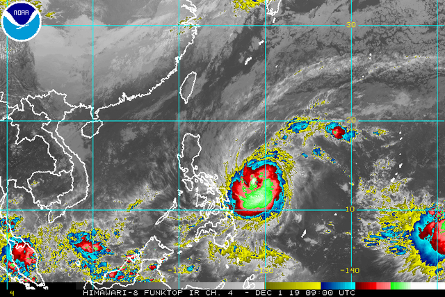 Satellite image of Typhoon Tisoy (Kammuri) as of December 1, 2019, 5 pm. Image from NOAA