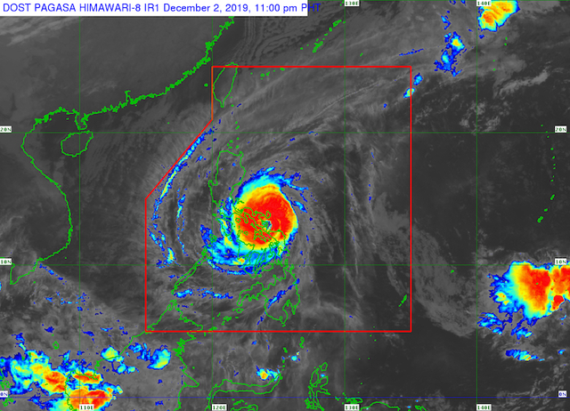 Satellite image of Typhoon Tisoy (Kammuri) as of December 2, 2019, 11 pm. Image from PAGASA
