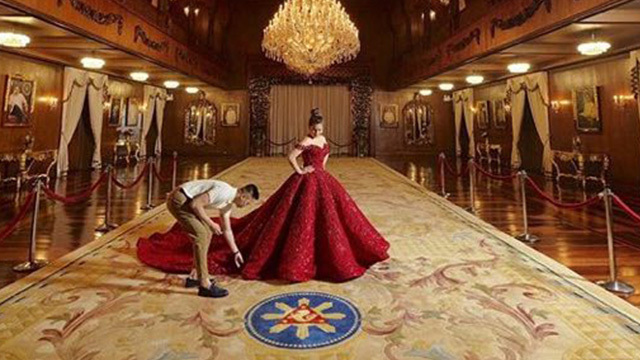 GRAND AFFAIR. Presidential granddaughter Isabelle Duterte poses for a pre-debut photo shoot inside Malacañang. Photo from Jeff Galang Instagram account