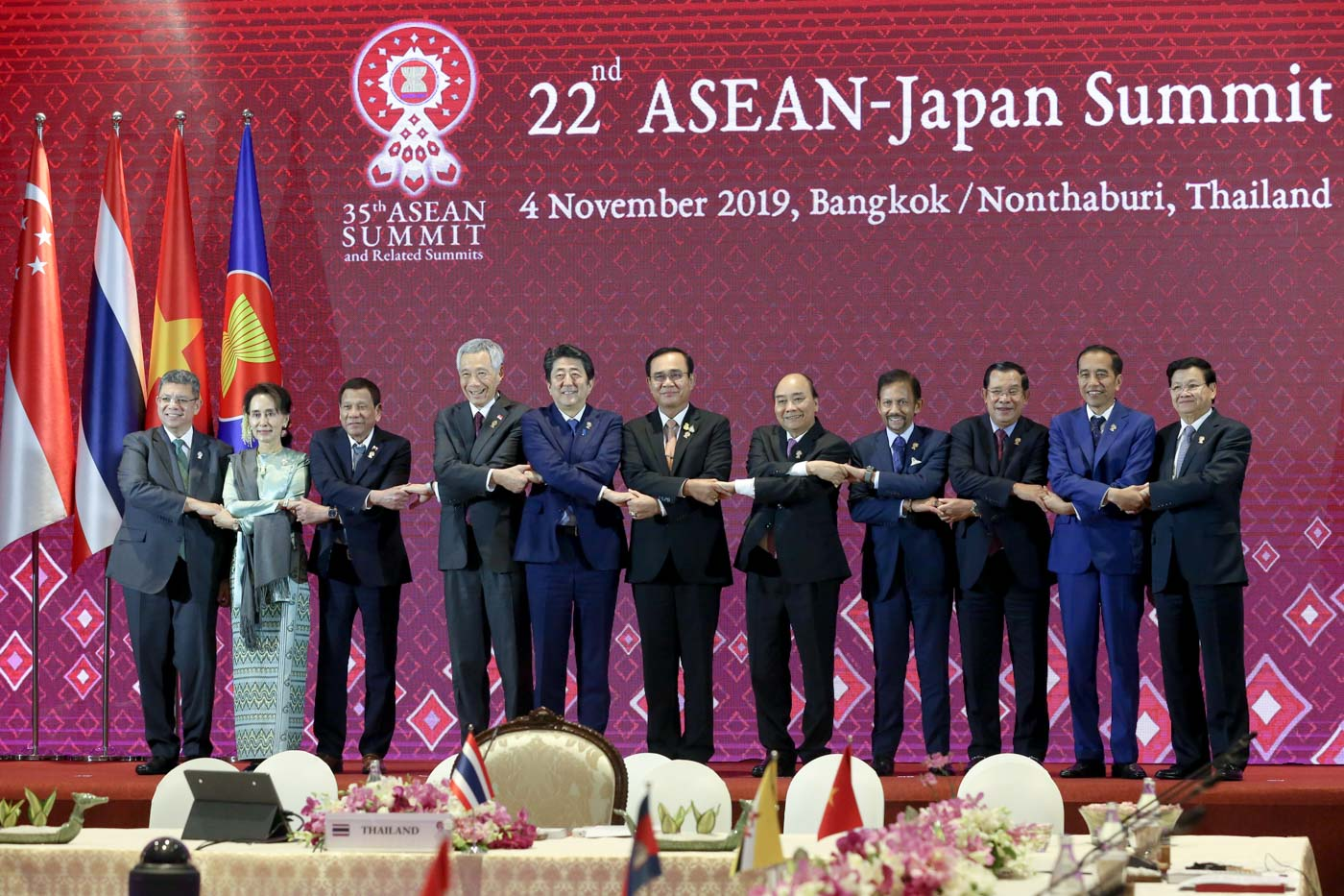 ASEAN AND JAPAN. President Rodrigo Duterte with other leaders from the Association of Southeast Asian Nations (ASEAN) and Prime Minister of Japan Shinzo Abe during the 22nd ASEAN-Japan Summit at the Impact Exhibition and Convention Center in Nonthaburi, Thailand on November 4, 2019. Photo from Malacañang