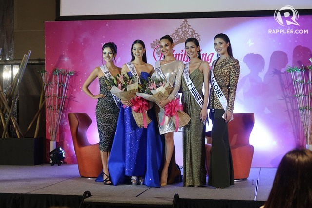 SUPPORT. Catriona and Jehza with their pageant sisters Karen Gallman, Samantha Bernardo, and Michele Gumabao.