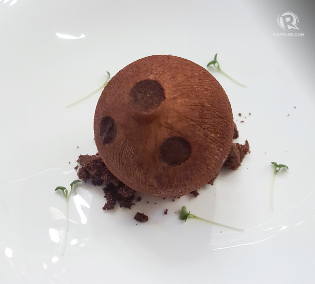 DESSERT. Auro chocolate serves up a 'chocolate buko,' or coconut, to round off a decadent dinner. The dish was created by The Peninsula Manila's Xavier Castello. All photos by Tedrick Yau/Rappler