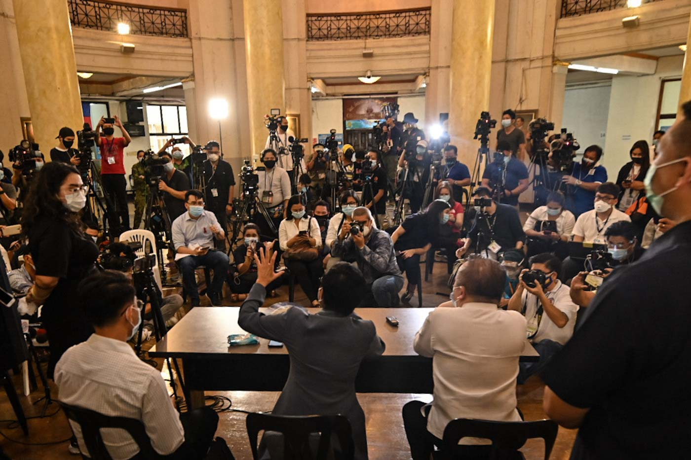 CYBER LIBEL. Rappler CEO Maria Ressa faces the media after the Manila Trial Court Branch 46 convicted her and co-accused Reynaldo Santos Jr of cyber libel. Photo by Alecs Ongcal/Rappler