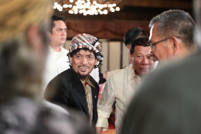 JOINT PATROL.  Nur Misuari, founding chaiman of the Moro National Liberation Front, shown in the file photo President  Rodrigo Duterte. Presidential Photo