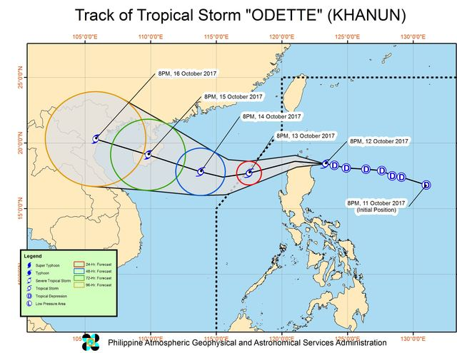 Forecast track of Tropical Storm Odette as of October 12, 11 pm. Image courtesy of PAGASA