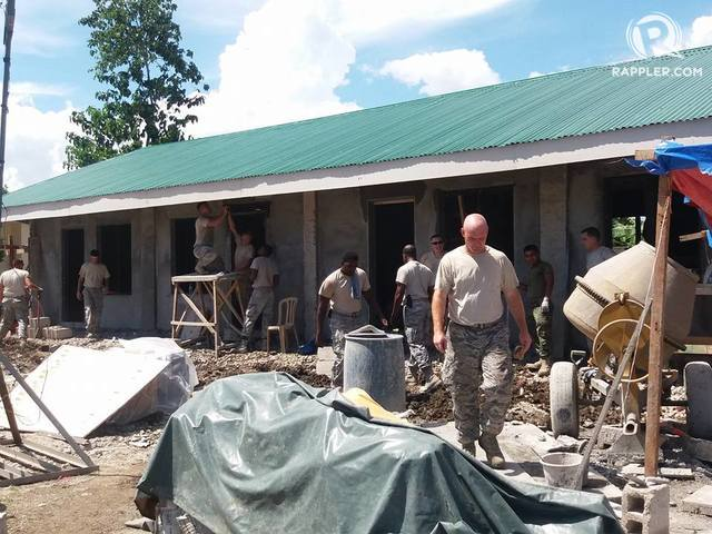 NEW CLASSROOMS. US soldiers build classrooms in a remote village in Ormoc City, Leyte, as part of the 2017 Balikatan Humanitarian Program. Photo by Jazmin Bonifacio