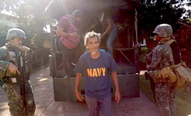 RESCUED. Kidnap victim Jose Duterte, 66, is rescued from the Abu Sayyaf on November 1, 2018. Sourced photo