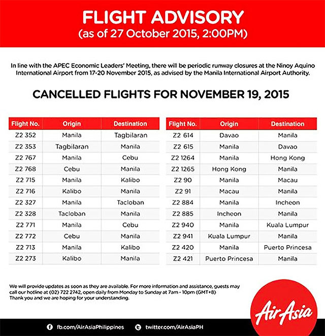 Cancelled Flights Due To APEC Meetings In November
