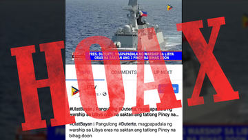 HOAX: 'Philippine warship' photo in PTV report on kidnapped