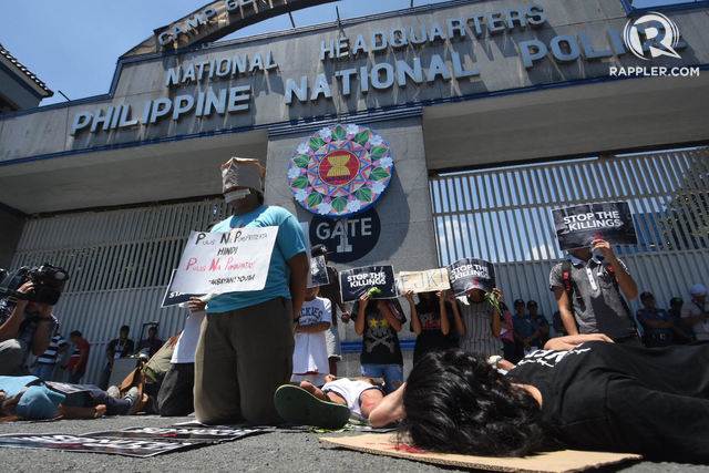 ZERO EJK? Protesters call for an end to drug war killings in front of the PNP headquarters. File photo by Angie de Silva/Rappler