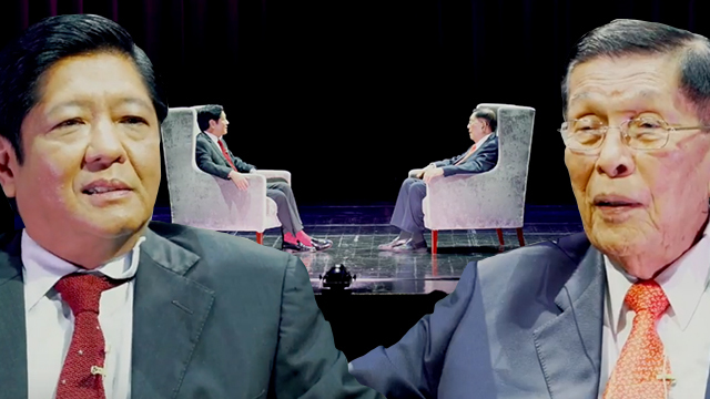 MARTIAL LAW. Ex-senator Bongbong Marcos interviews ex-defense minister and Senate president Juan Ponce Enrile. Screenshots from Bongbong's YouTube account