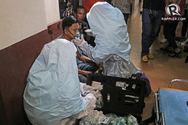 SIMULATION. Emergency responders in Cebu practice responding to a possible novelcoronavirusoutbreak. Photo by Gelo Litonjua/Rappler
