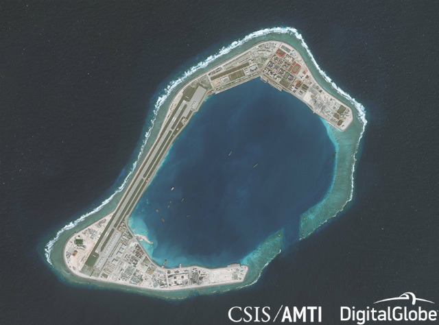 SUBI REEF. This photo shows the artificial island on Subi Reef in the West Philippine Sea as of December 7, 2017. Photo courtesy of CSIS/AMTI/DigitalGlobe
