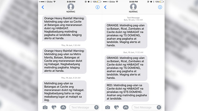 ALERTS. The NDRRMC sends mobile alerts based on PAGASA rainfall warnings.