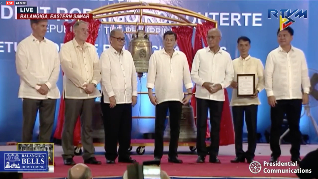 HOME. President Rodrigo Duterte attends the 'homecoming' ceremony and turnover of the transfer certificate of the Balangiga Bells in Eastern Samar. RTVM screenshot