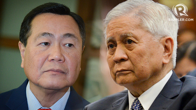 DIPLOMATIC PROTEST. Acting Chief Justice Antonio Carpio and former Philippine foreign secretary Albert del Rosario urge the Duterte administration to file a diplomatic protest against China's bombers in the South China Sea. File photos by LeAnne Jazul/Rappler