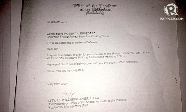 INVITATION. Philippine Navy's OIC chief Commodore Robert Empedrad was invited to Malacanang to discuss the frigates project. Sourced document