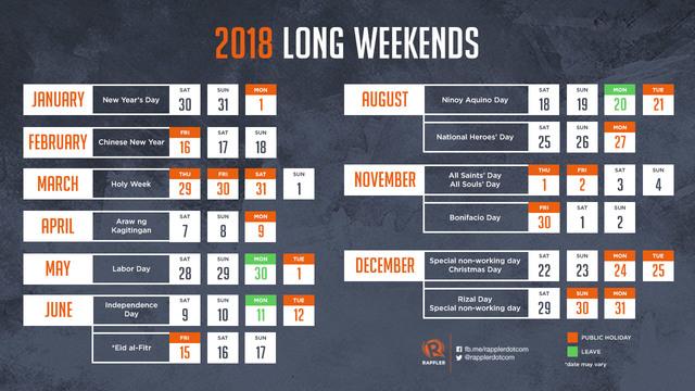 Plan your 13 long weekends in 2018