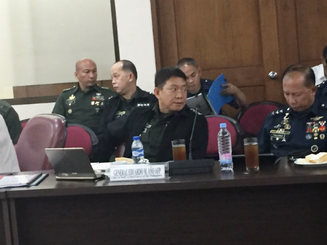 NO TERROR LINKS. AFP chief General Eduardo Año attends a briefing with lawmakers on May 8, 2017. Photo by Mara Cepeda/Rappler