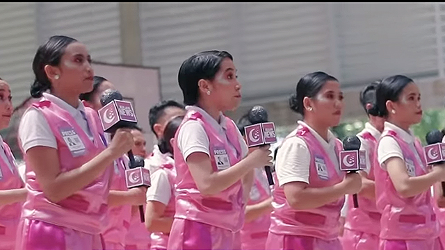 CHEER AS PROTEST. Students from the University of the Philippines Visayas in Iloilo City perform a cheer routine on October 16, 2019, that mocks the Duterte administration. Screenshot of Video from Ruperto Quitag