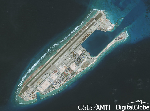 KAGITINGAN REEF. This satellite image dated January 1, 2018, shows Kagitingan Reef (Fiery Cross Reef) in the West Philippine Sea (South China Sea). Photo courtesy of CSIS/AMTI/DigitalGlobe
