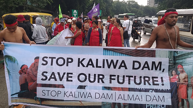 'SAVE OUR FUTURE.' In this file photo, indigenous peoples from Quezon and Rizal march to oppose the Kaliwa Dam project. File photo courtesy of Leandro Miguel Novero