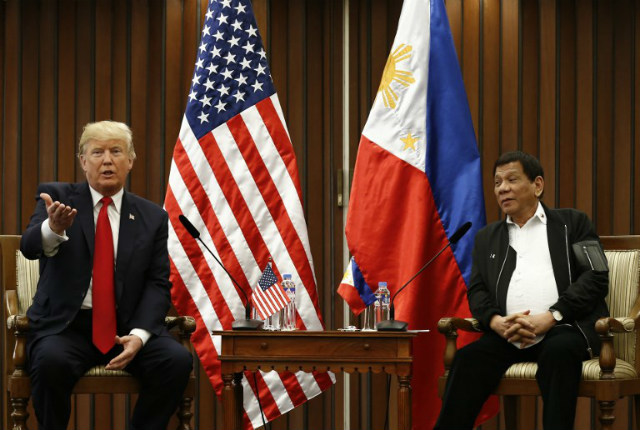 BILATERAL MEETING. Philippine President Rodrigo Duterte and US President Donald Trump hold a bilateral meeting on November 13, 2017, on the sidelines of the 31st ASEAN Summit and Related Summits hosted by the Philippines. Photo by AFP