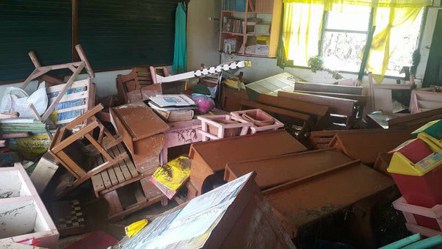 WASHED OUT. Teachers from Kabasalan SPED Center did not expect the flood waters to reach as high as the prepositioned electronic devices. School amplifiers, printers, photocopiers are all washed out.