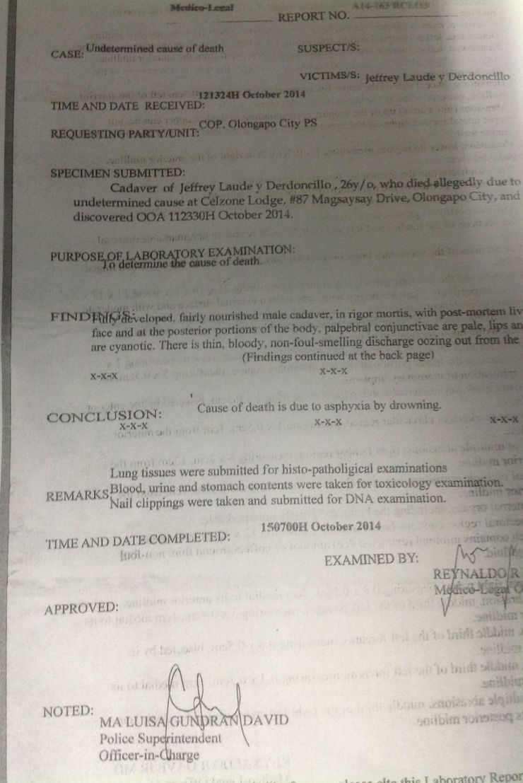Jennifer laude died from drowning autopsy report yelopaper Choice Image